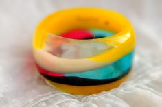 Layered Art Bangle Special Art Colorful Cocktail bracelet. Original design. Statement bangle. PAGANE uniques. Original jewelry for her.