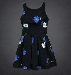 Hollister by Abercrombie Blue Pink Floral Tie Back Logo Summer Dress NWT NWOT #Hollister #Sundress #Casual