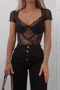Order the Fashion Influx Black Mesh Lace Cupped Short Sleeve Bodysuit from In The Style. Edgy Outfits, Cute Casual Outfits, Fashion Outfits, Womens Fashion, Classy Going Out Outfits, Fashion Tips, Lace Outfit, Black Lace Top Outfit, Bustier Outfit
