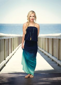 With a white denim jacket this Navy ombre maxi dress would look super cute!. #summer #beach #fashion
