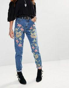 Джинсы в винтажном стиле с завышенной талией и цветочной вышивкой Glamorous