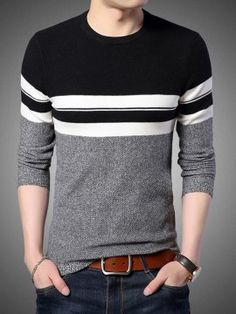 Cotton Sweater Men New Winter Warm Slim fit Pullover Men Wool Sweaters Casual Striped O-Neck Pull Male Sweaters, Casual Sweaters, Casual Shirts For Men, Pullover Sweaters, Men Casual, Winter Sweaters, Mens Knitted Cardigan, Men Sweater, Jumper