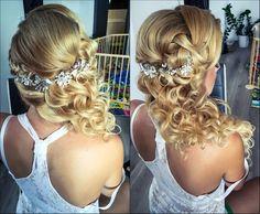 Wedding hairstyle Wedding Hairstyles, Backless, Makeup, Dresses, Fashion, Hairdo Wedding, Make Up, Vestidos, Moda