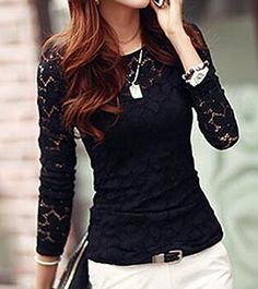 Stylish Spaghetti Strap Tank Top + Round Neck Long Sleeve Lace Blouse Twinset For Women