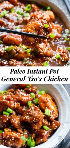 This paleo General Tsos Chicken is made in the Instant Pot in under 30 minutes! Way better than takeout and just as fas Paleo Chicken Recipes, Whole Food Recipes, Healthy Recipes, Paleo Meals, Paleo Food, Paleo Stir Fry Chicken, Instapot Recipes Paleo, Gluten Free Chicken, Top Recipes