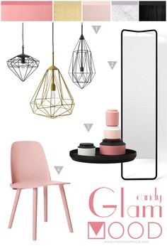Candy Glam MOOD, elegance! muuto chair, nordic design and diamonds wireframe lamps