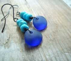 Cobalt Sea Glass Earrings With Turquoise, Beach Glass Jewelry Boho Chic Summer Jewelry Sterling Silver Aqua Blue December Birthstone