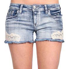 Shyanne® Women's Lace Applique Cutoff Shorts