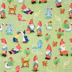cute green fabric with many gnomes from the USA Acorn Crafts, Michael Miller Fabric, Modes4u, Idee Diy, Paper Piecing Patterns, Fabulous Fabrics, Cool Fabric, Green Fabric, Vintage Fabrics