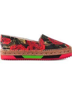 rose print brocade platform espadrilles
