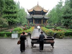 """The name of the Qingyang Gong or """"Green Goat"""" Temple in Chengdu, China, refers to a quote from Laozi, mythical founder of Daoism, suggesting that followers could find him at the Green Goat Market. Chengdu, Goat, Followers, Temple, Quote, China, Patio, Outdoor Decor, Green"""