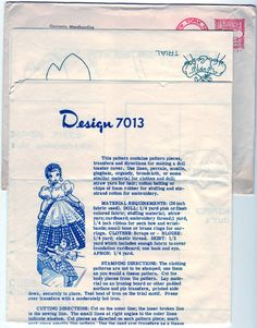 I have this one! Vintage 1950s Mail Order Alice Brooks 7013 UNCUT Craft Sewing Pattern Toaster Doll Cover