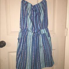 Aztec strapless beach dress with pockets. Pool / bbq / summer / beach party, dress it up dress it down. Aqua Dresses