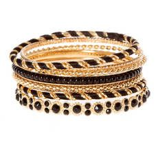 Gold with Black Cord, Crystal and Pearls Bangle Bracelets Set of 8