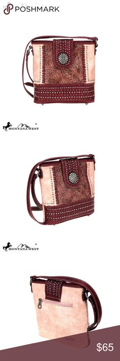Montana West Concho Collection Crossbody Pink Made of PU leather (toned  color) Antique silver berry concho on the flap with magnetic button closure  Embossed ... 0d2580643b581