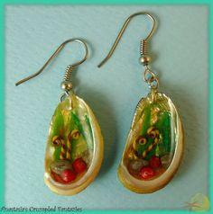 Seashell earrings by CrumpledFantazies