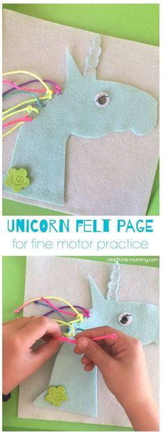 Unicorn Felt Page to work in fine motor skills