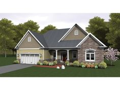 Shingle, siding and stone come together to make this plan inviting and warm. A great split bedroom layout separated by a large open concept living space is perfect for empty nesters and young families. A screened porch provides a protected outdoors space. Rambler House Plans, Ranch House Plans, New House Plans, Small House Plans, House Floor Plans, Casa Stark, Ranch Style Homes, House Colors, My Dream Home