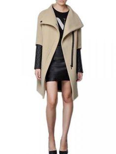 Women Vintage Zipper Leather Patchwork Woolen Coat