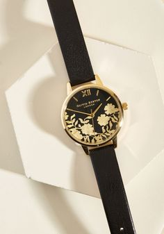 Gild With Love Watch. You have a deep fondness for beautiful timepieces, so we have a feeling things could get pretty serious with this black watch! #black #modcloth
