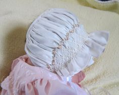 Smocked Embroidered Baby Bonnet Christening Photography Easter Christmas | eBay