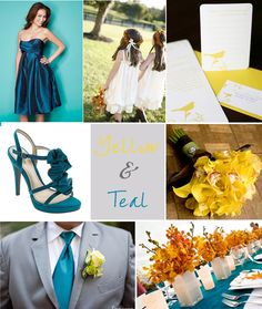 Teal with a touch of yellow and orange wedding inspiration.