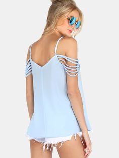 Blue Spaghetti Strap Cold Shoulder Blouse | MakeMeChic.COM