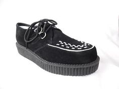 TUK A6828 ROCKABILLY BLACK SUEDE CREEPERS NOS UK 11 US 12 GOTH PUNK