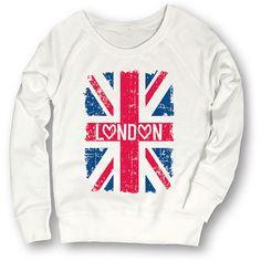 Sharp Wit White 'London' Union Jack Sweatshirt ($25) ❤ liked on Polyvore featuring tops, hoodies, sweatshirts, union jack top, white sweat shirt, layered tops, sweatshirts hoodies and sweat tops