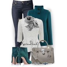 """""""Teal,White&Grey"""" by katiediab on Polyvore"""