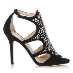 Black Suede Sandals with Crystal Embroidery