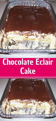 This Chocolate Eclair Cake is super quick and easy to make but is a crowd-pleasing, show-stopping, all-time favorite dessert! This Chocolate Éclair Cake features layers of graham crackers, mega creamy filling made with vanilla pudding Pecan Sandie Cookie Recipe, Pecan Sandies Cookies, Chocolate Eclair Cake, Chocolate Glaze, My Recipes, Cookie Recipes, Dessert Recipes, Desserts, Instant Pudding Mix