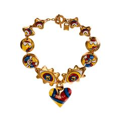 A Rare 'Heart' necklace by Alexis Lahellec of Paris | From a unique collection of vintage choker necklaces at https://www.1stdibs.com/jewelry/necklaces/choker-necklaces/