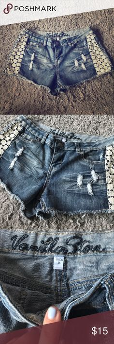 Trendy Laced Jean Shorts Like new. Short, Jean shorts with lace designs on sides and trendy rips. Juniors size 15, fits a size 10-12 in women's. Shorts have great stretch! Make an offer! Vanilla Star Shorts Jean Shorts