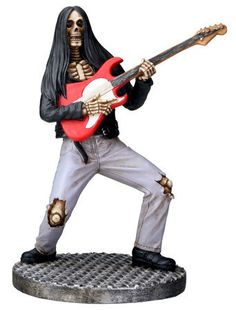 Skeleton Guitarist Figurine in Black & Gray