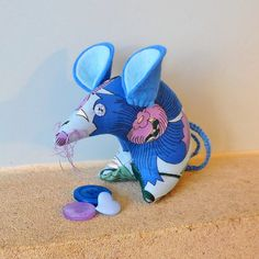 Vintage Fabric Retro mouse   70s Blue and Lilac by audreyscat, £10.00