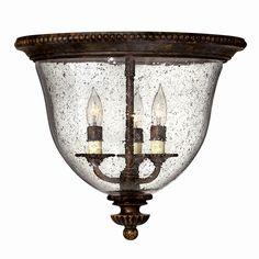 """$249.00Hinkley Lighting 3712FB 3 Light Rockford Flush Mount Ceiling Light, Forum Bronze Hall LightsX 3  14 1/2""""X13""""H"""