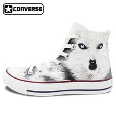 9a2b526e071302 Men Women Converse All Star Wolf Original Design Hand Painted Shoes White  High Top Sneakers Boys