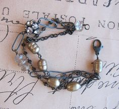 Olessa bracelet - champagne pearls gemstone sterling silver