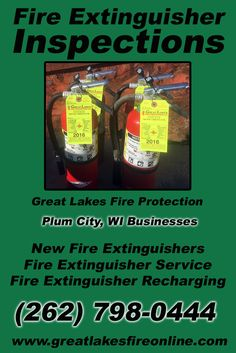 Fire Extinguisher Inspections Plum City, WI (262) 798-0444 We're Great Lakes Fire Protection. Call Today and Discover the Complete Source for all Your Fire Protection!