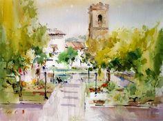 Laurentino Martí Watercolor Sketch, Watercolor Landscape, Watercolor Paintings, Watercolour Tutorials, Watercolor Techniques, Marti, Spanish Art, Art Courses, Cityscapes
