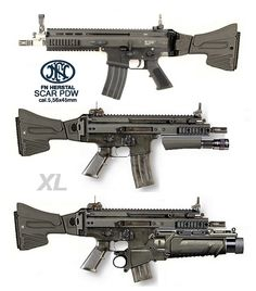 SCAR PDW [Personal Defense weapon]. I do not know if these are real or reflect the imagination of a 3D digital artist. On the bottom one, there is an EGLM 40 mm grenade launcher, which strikes me as possibly dubious for such a small weapon. jdm