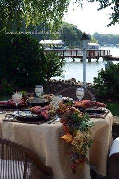 fall table by the water from The Home Is Where The Boat Is site