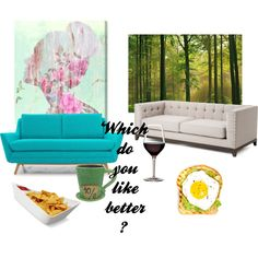 comment which side you like better by elizabeth-b-a on Polyvore featuring polyvore interior interiors interior design home home decor interior decorating Joybird Furniture Disney Black+Blum Oliver Gal Artist Co. WallPops