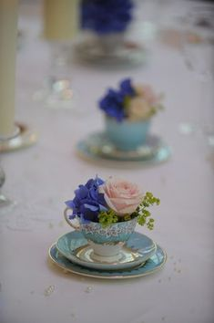 Flowers in teacups are such a cute and cheap centre piece, you can pick them up for a few dollars at any op shop or market!