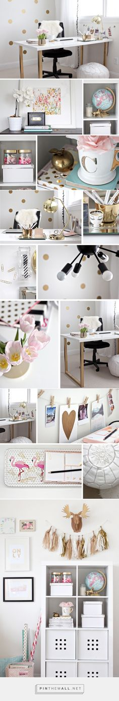 just bella: Gold and Girly Home Office - created via http://pinthemall.net