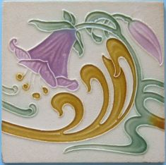 Swirling design that fills the entire tile in five soft colors. The tile is in excellent/very good condition with light wear to lower left and upper right corners. Please write with any questions you may...