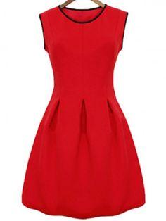 Red Pleated Sleeveless Dress