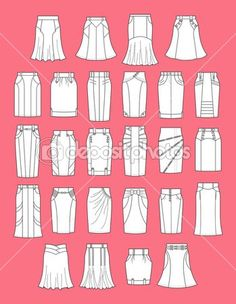 Illustration about Vector illustration of womens skirts. Illustration of classic… Illustration about Vector illustration of womens skirts. Illustration of classic, jeans, apparel – 31402827 Skirt Patterns Sewing, Clothing Patterns, Fashion Design Drawings, Fashion Sketches, Fashion Dictionary, Fashion Vocabulary, Types Of Skirts, Drawing Clothes, Rock Chic