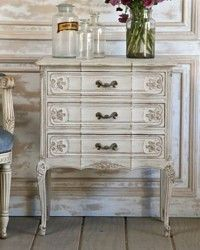 Vintage Louis XV French Style Commode Gris Hand Carved, Furniture, Paneled, Antique